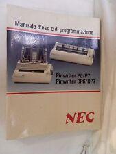 MANUALE D USO E DI PROGRAMMAZIONE PINWRITER P6/P7 E CP6/CP7 Nec 1987 Digitronica