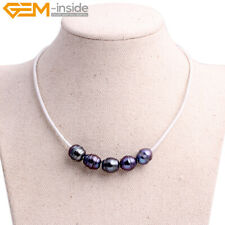 """Women Freshwater 5 Pearls Beads White Cord Fashion Jewelry Necklace 17.5"""" Gift"""
