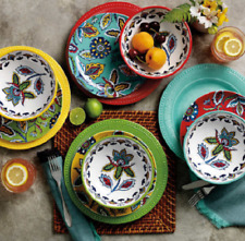 Melamine Dinnerware Indoor Outdoor Bowls Plates 12 Pieces Service for 4