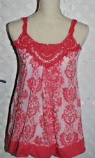 TESTAMENT Coral Pink FLORAL EMBROIDERED COTTON BLEND JERSEY TANK TOP New XS