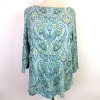 Charter Club Women's 0X Green Yellow Paisley Pima Cotton 3/4 Sleeve Knit Top NEW
