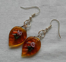 Beautiful murano glass earrings leaf shaped brown glass with little pink rose