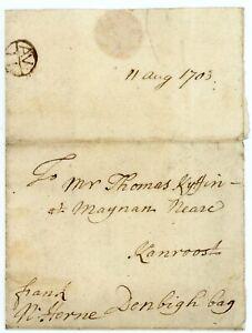"Wales - SCARCE 1703 cover London to Maenan nr Llanrwst, manuscript ""Denbigh Bag"""