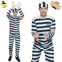 Men's Scary Prisoner Costume Convict Jailbird Halloween Imitation Fancy Dress