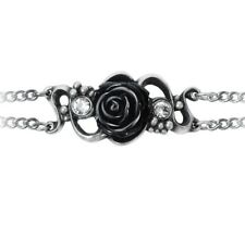 Alchemy Gothic Bacchanaletta Chain Bracelet Black Resin Rose Grape Crystals A136
