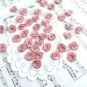 Dusty Pink Roses,Ribbon Roses,Mini Rosettes,Fabric Flowers,Small Craft Roses