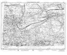 1953 AIRPORT CHART MAP Charlotte Jackson Ann Arbor Pontiac Milford Leslie MI BIG