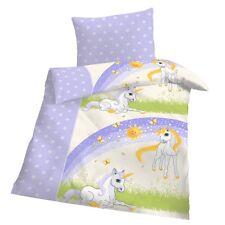 Baby Bettwäsche 100x135 cm Einhorn Flieder Blau Weiß Biber Warm