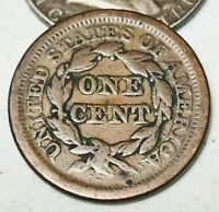 1851 Large Cent Matron Braided Hair 1C Higher Grade Good US Copper Coin CC3535