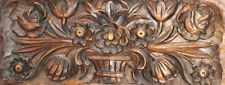 1985 Hand carved floral wood wall decor plaque