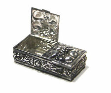 Vintage SILVER PLATED PILL BOX w/Grapes, Apples, Wheat & Flower Repousse Design