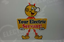 Reddy Kilowatt LARGE ELECTRIC SERVANT DIE CUT HEAVY DUTY SIGN ELECTRICIAN GIFT