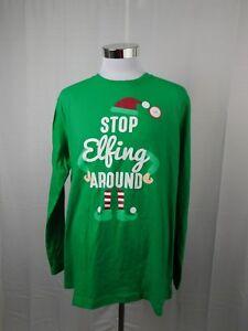 Family PJs Stop Elfing Around Christmas Elf Pajama Top Men's Large #8012