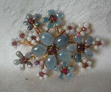 SWOBODA FLOWER SPRAY PIN BROOCH ~ GEMS ~ BLUE & CLEAR OPAL, RUBY ~ SENSATIONAL