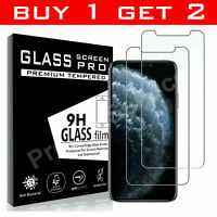 For New iPhone 11 Pro X XR XS Max Cover Gorilla Tempered Glass Screen Protector
