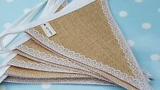 HESSIAN & LACE Fabric Bunting SOLD BY THE METRE  /  Wedding Christmas Party