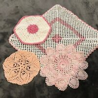 Vintage Mid Century Hand Crocheted Doilies Lot of 4 Cotton Pink Round Square