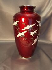 Large Museum Quality Red Ando Ginbari Cloisonne Japanese Vase 6 Flying Cranes