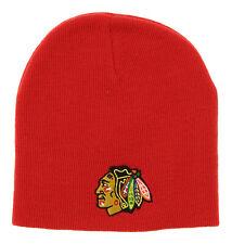 NHL Kids (4-7) Chicago Blackhawks Face Off Skull Knit Beanie Hat, Red OSFM