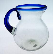 Mexican Glass Pitcher, hand blown, blue rim, 2 quarts, Bola design