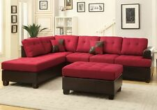 3 pcs Large Living Room Reversible Sectional Sofa Chaise Set Ottoman Carmine Red