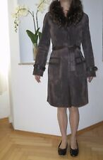 Damen Mantel, Echt Leder, mit Echt Pelz Kragen, Gr. 36 - 38, braun, Ledermantel
