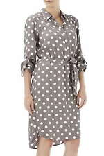WALLIS PETITE MOCHA & WHITE POLKA DOT COCKTAIL SHIRT DRESS UK 16