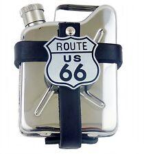 Gürteltasche aus Leder mit Flachmann Taschenflasche Kanister Edelstahl Route 66
