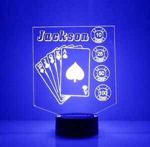 Personalized Poker Chips & Cards LED Night Lamp, FREE Engraved Name, With Remote