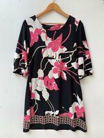 STELLA half sleeve pink floral above knee stretch dress size 12