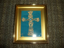 Vintage Cross Quilling Paper Art Shadowbox Framed Quilled
