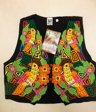 Ladies Waistcoat Size S Approx 14-16? INDIOS Black & Bright Multi parrots PRE2