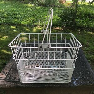 Vintage White Wire Metal Double Handle Front Bicycle Bike Basket