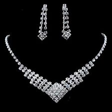 Lovely Princess Crystal Rhinestone Earrings Necklace Wedding Bridal Jewelry Set