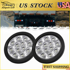 "2pc 4"" LED Trailer Reverse Back Up Lights Round Sealed White RV Truck Tail Light"