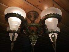 Rare Art Deco White Frosted Gil Glass 5 Light Slip Shade Chandelier Fixture
