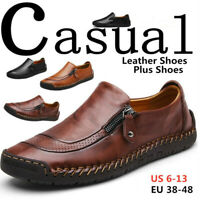 Men's Leather Casual Shoes Breathable Antiskid Slip on Zipper Loafers Moccasins