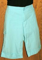 DKNY Women's Turquoise Stretch Cotton Bermuda Shorts w Plenty of Pockets Size 6