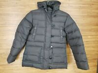 Lands End Brown 100% Nylon Down Hooded Puffer Jacket Womens Size XS EUC