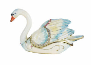 Pill Box Swan Jewelry Can with Lid Faberge Figurine Bird Pillenbox