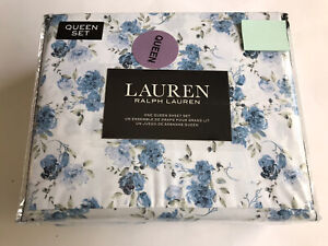Ralph Lauren QUEEN Sheet Set 4Pc Floral Blue French Country Cottage SRP$105