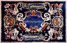 4'x3' Marble Dining Table Tops Precious Angels Inlay Work Occasional Decor B545