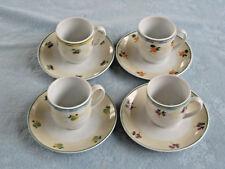 Set Of 4 Demitasse Porcelian Cups & Saucers Guy Degrenne