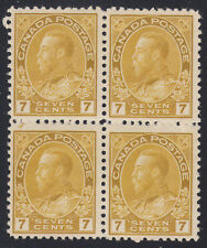 Canada 7c KGV Admiral Block, Scott 113b, F-VF MH, catalogue - $940