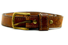 Vintage Handmade Australian Real Leather Belt Brown Size 40