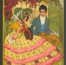ROMANTIC COUPLE UNDER ROSE ARBOR,PRETTY ART DECO FASHION DRESS,CHROMO POSTCARD