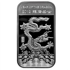 Chinese Lunar Calendar Year of the Dragon 2012 1 oz .999 Silver Bar
