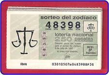 AÑOS COMPLETOS LOTERIA NACIONAL DEL ZODIACO AÑO 1991 MUY ESCASO,