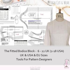 BASIC BODICE BLOCK - UK /USA/EU SIZES - TOOLS FOR PATTERN CUTTERS & DESIGNERS