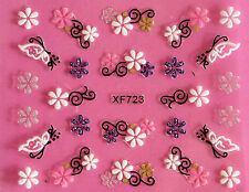 Puffy Sweets Flowers Black Scrolls 3D Nail Art Stickers Decals UV Acrylic Tips